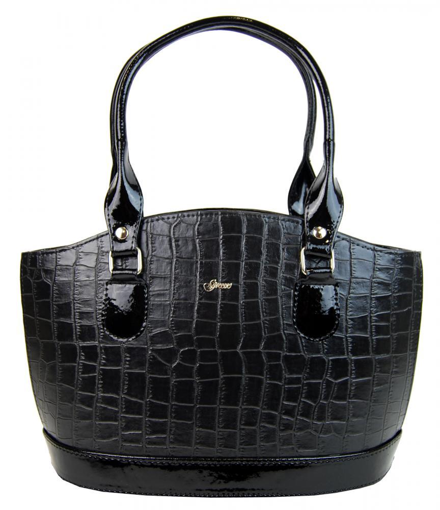 Originálna krokodília kabelka v čiernom laku S37 GROSSO