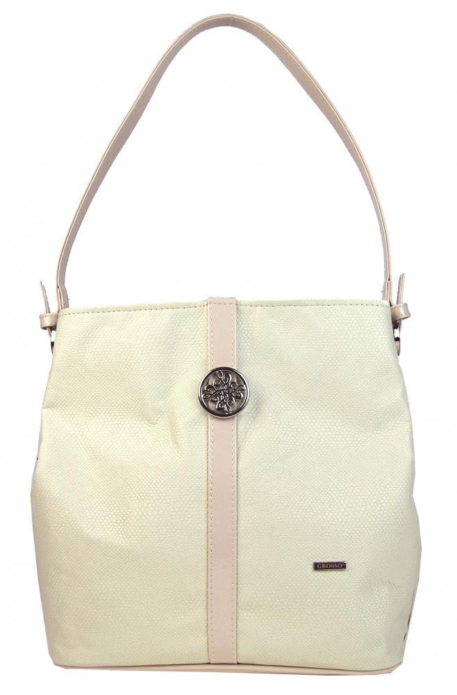 Smotanová-béžová kabelka na rameno s ozdobou S404 GROSSO