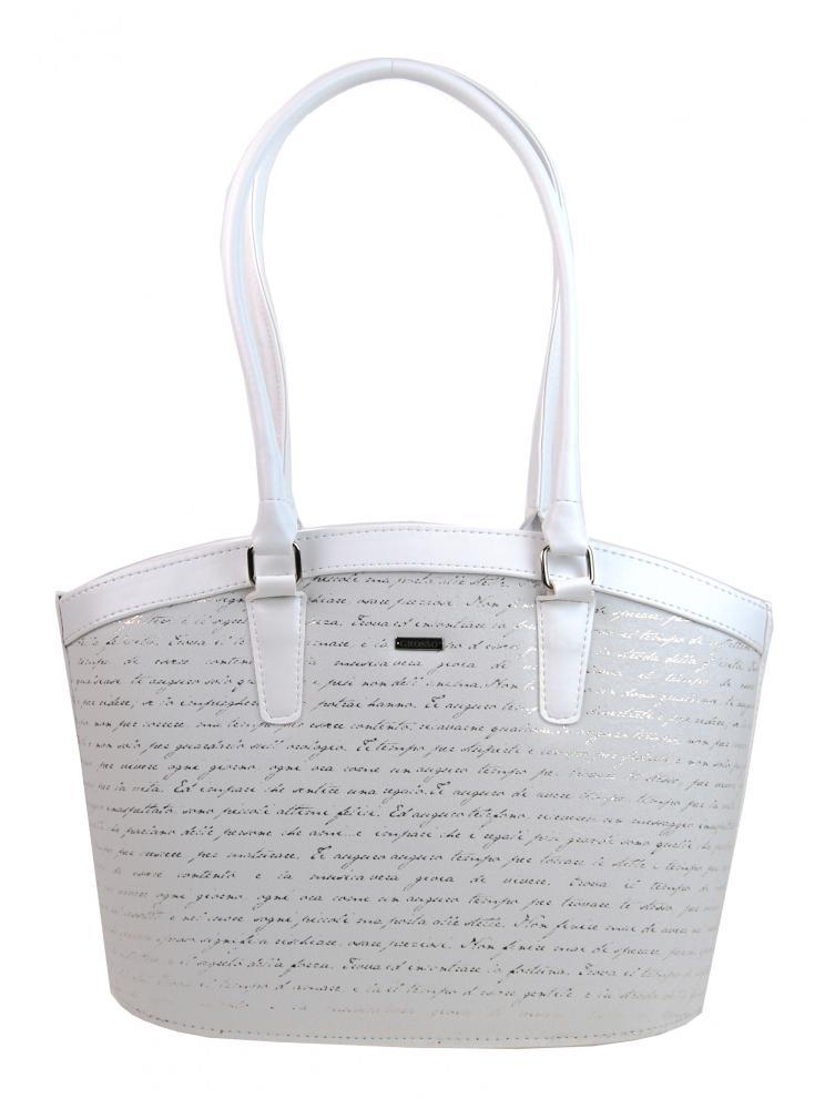 Bílá elegantní kabelka se stříbrným potiskem písmen S505 GROSSO