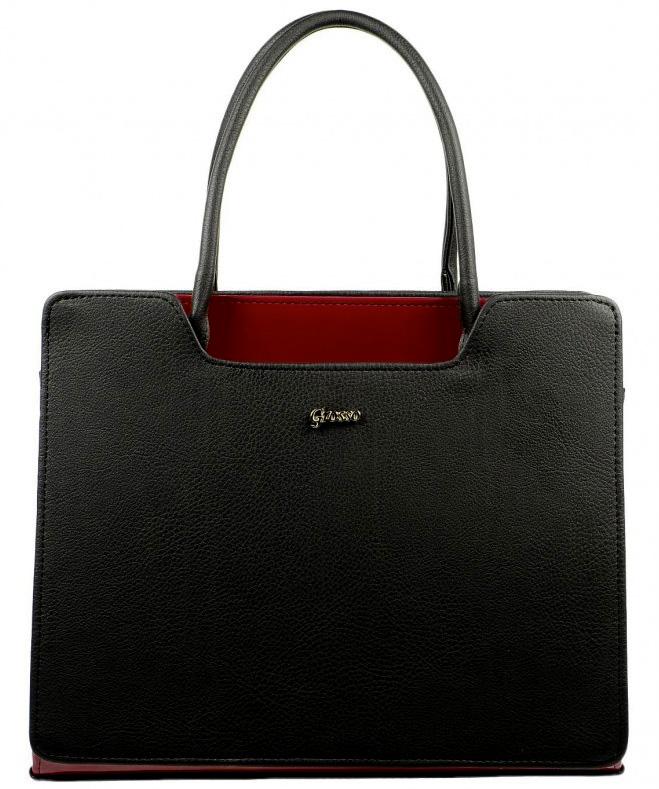 Čierno-karmínová elegantná kabelka S551 GROSSO