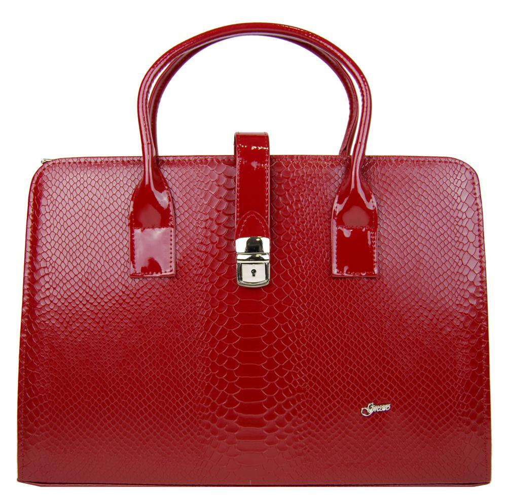 Luxusní dámská aktovka v červeném hadím laku S563 GROSSO
