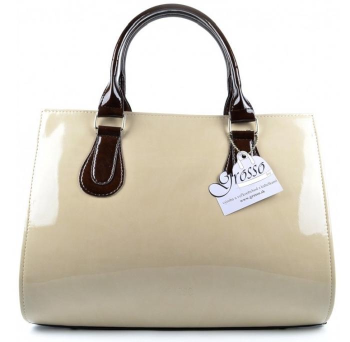 Elegantná kabelka béžovo-hnedá lakovaná S61 GROSSO