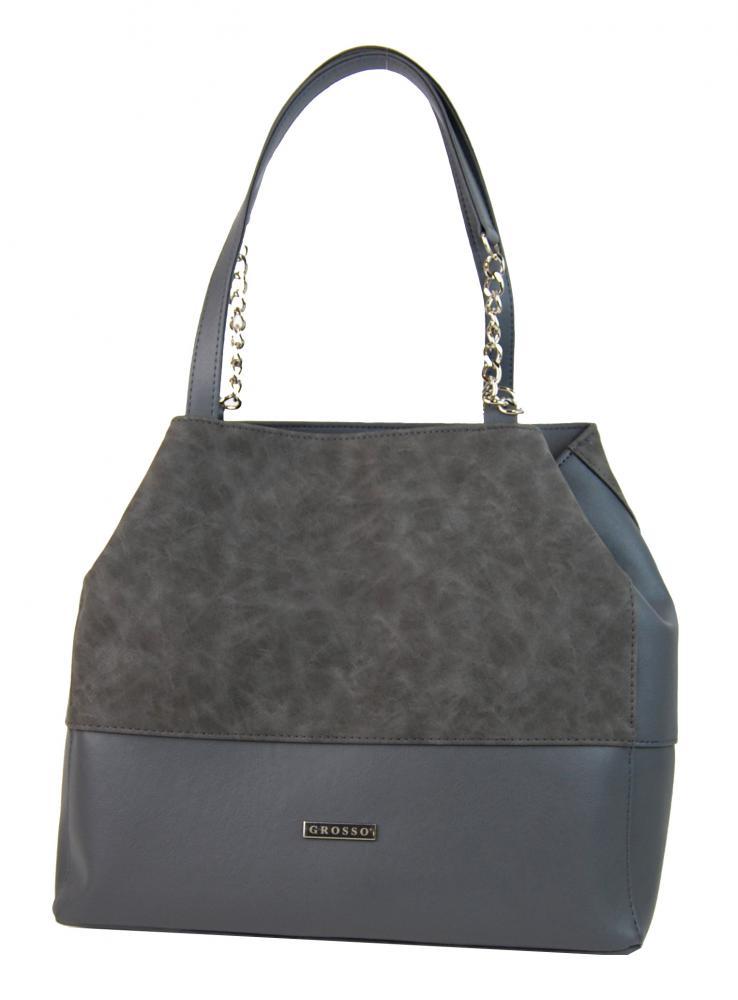 Sivá kabelka na rameno s retiazkami S611 GROSSO