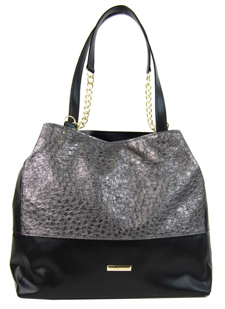 Stříbrno-černá kabelka s řetízky S611 GROSSO