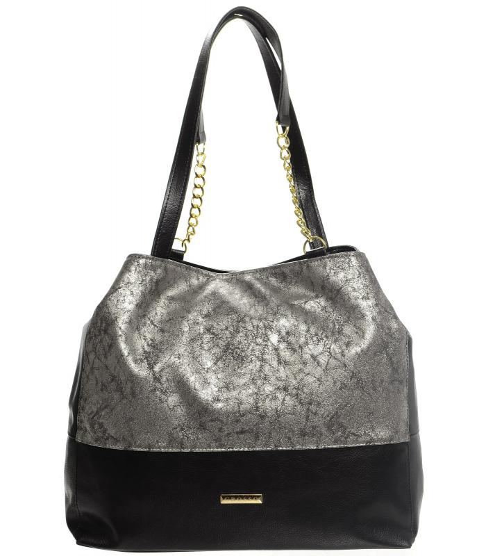 Strieborno-čierna patinovaná kabelka s retiazkami S611 GROSSO