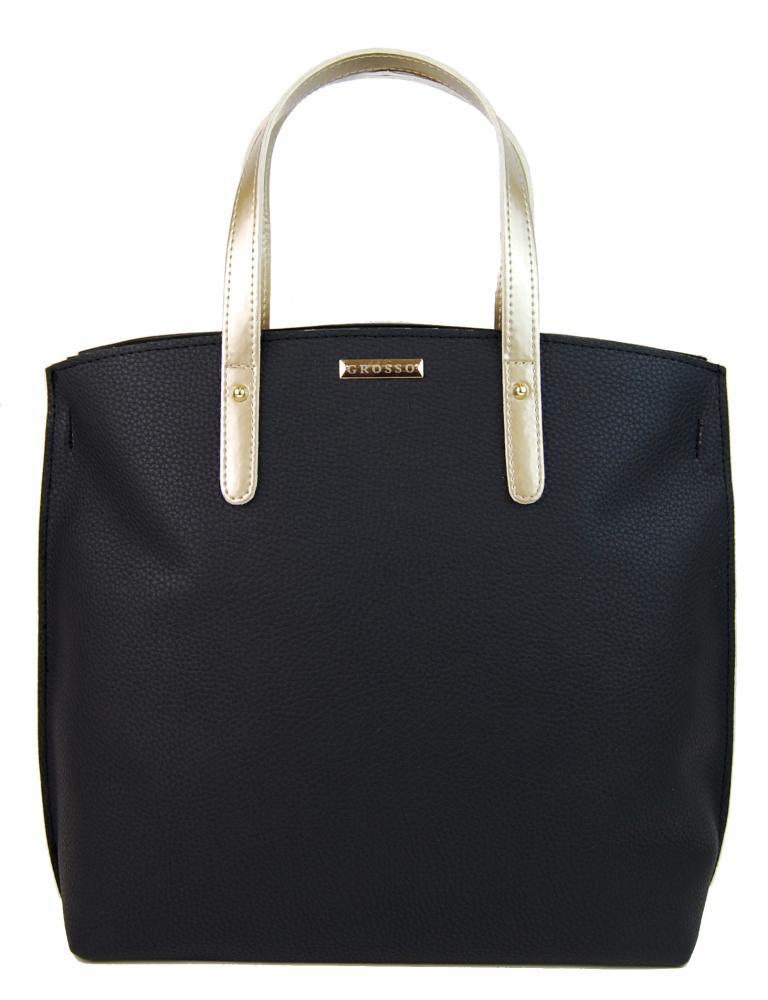 Černá kabelka se zlatými ručkami v anglickém stylu S612 GROSSO