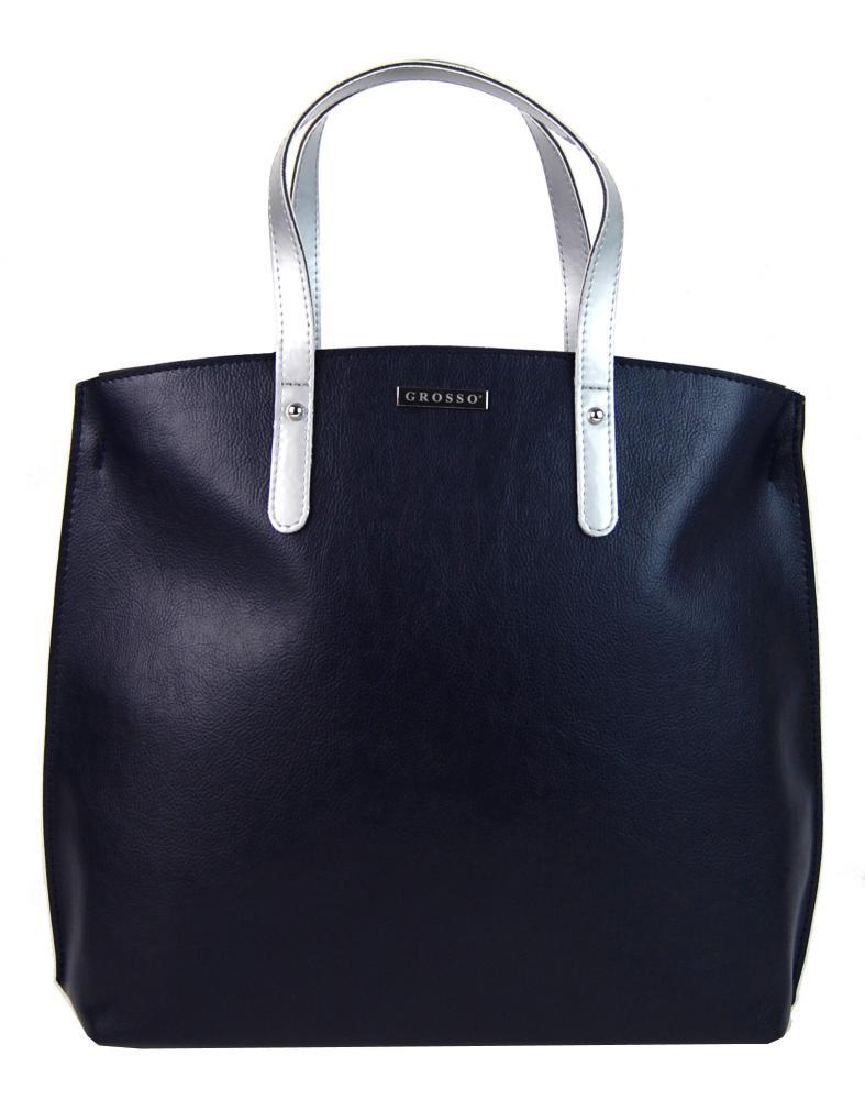 Modro-stříbrná matná kabelka v anglickém stylu S612 GROSSO