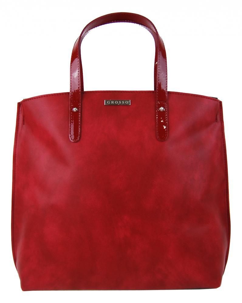 Červená matná kabelka v anglickém stylu S612 GROSSO