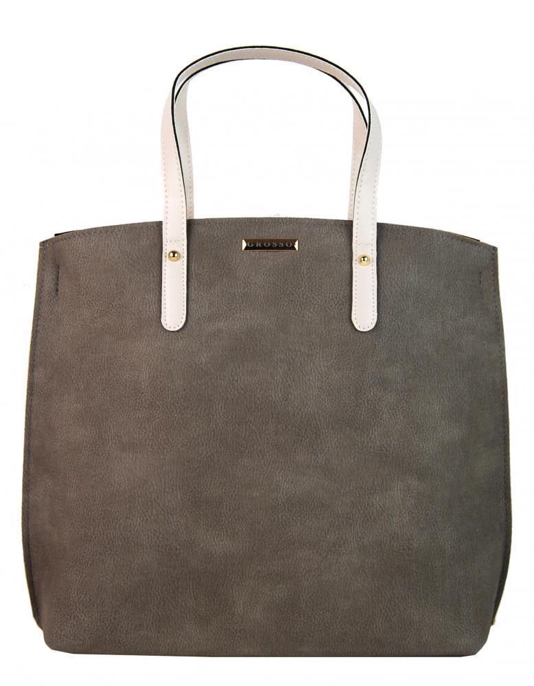 Šedo-béžová matná kabelka v anglickém stylu S612 GROSSO