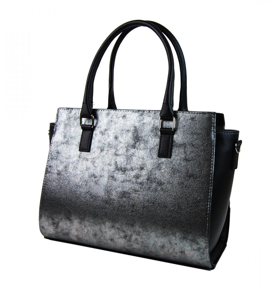 GROSSO Černo-stříbrná patinovaná luxusní dámská kabelka. GROSSO Černo-stříbrná  patinovaná luxusní dámská kabelka c11c93e198d