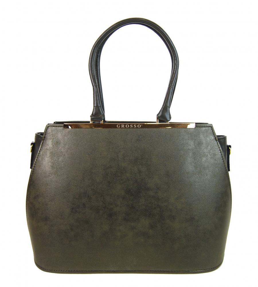 Zeleno-šedá jemně metalická dámská elegantní kabelka S700 GROSSO