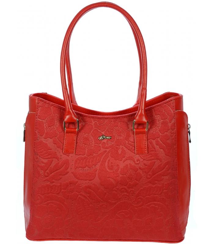 Červená elegantná kabelka s potlačou S727 GROSSO