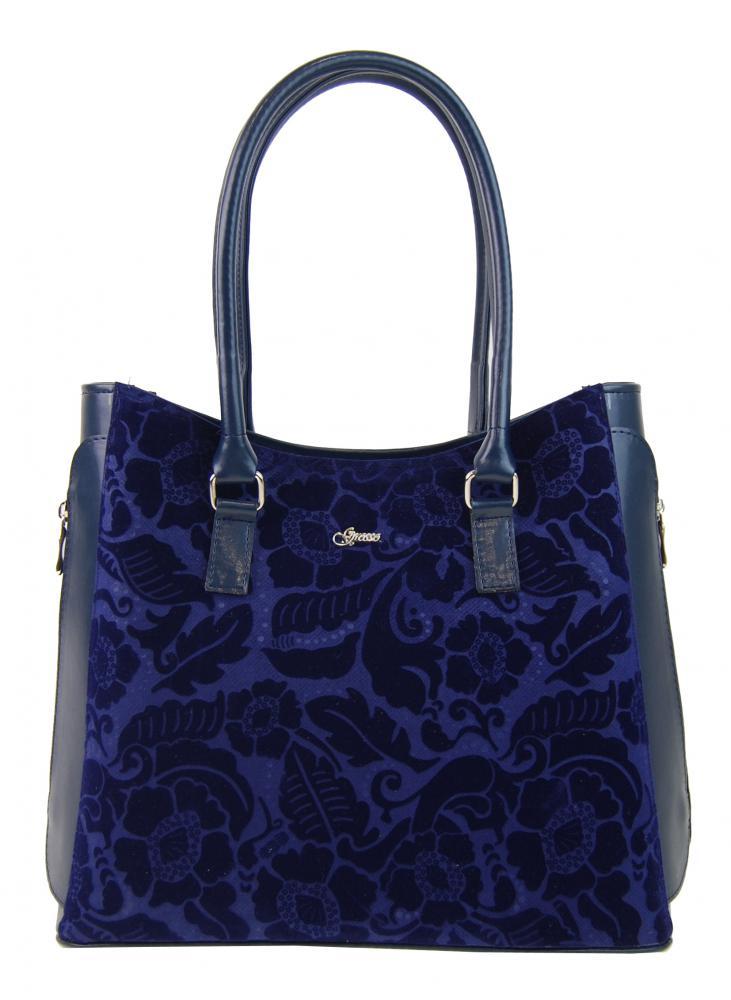 Modrá elegantná kabelka s potlačou S727 GROSSO