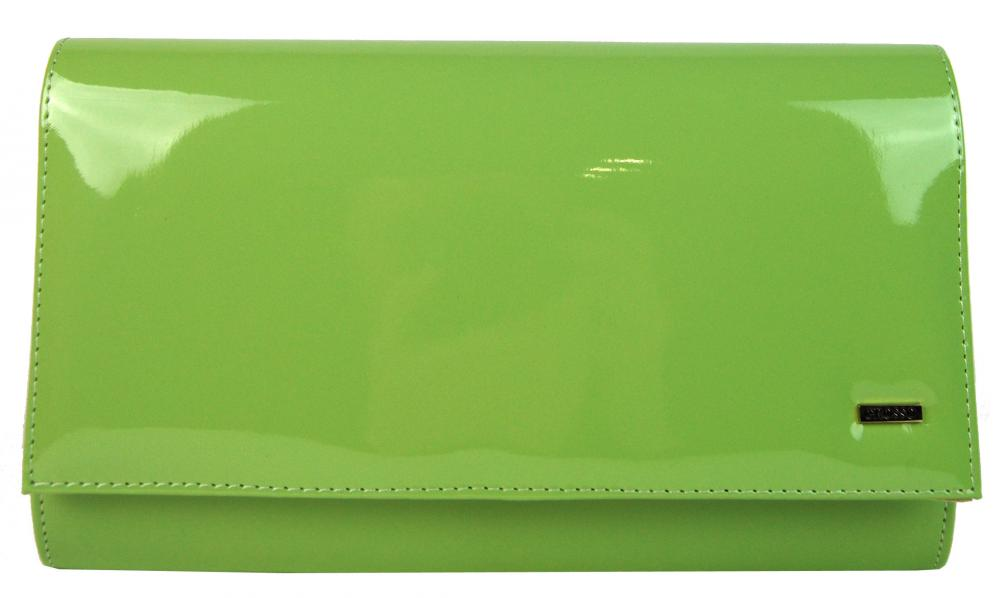 Luxusná zelená lakovaná dámska listová kabelka SP100 GROSSO