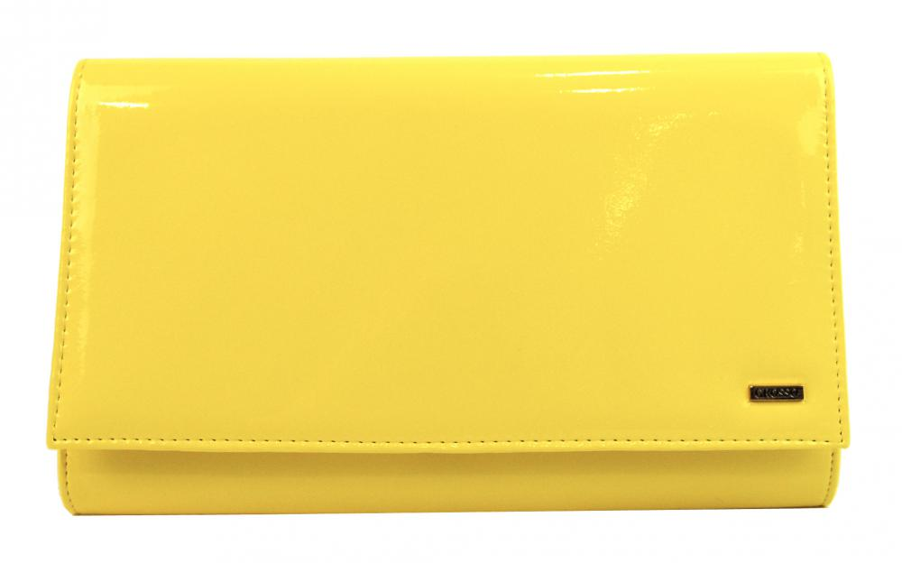 Luxusná žltá lakovaná dámska listová kabelka SP100 GROSSO