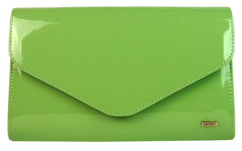 Jabĺčkovo zelená lakovaná spoločenská listová kabelka SP102 GROSSO