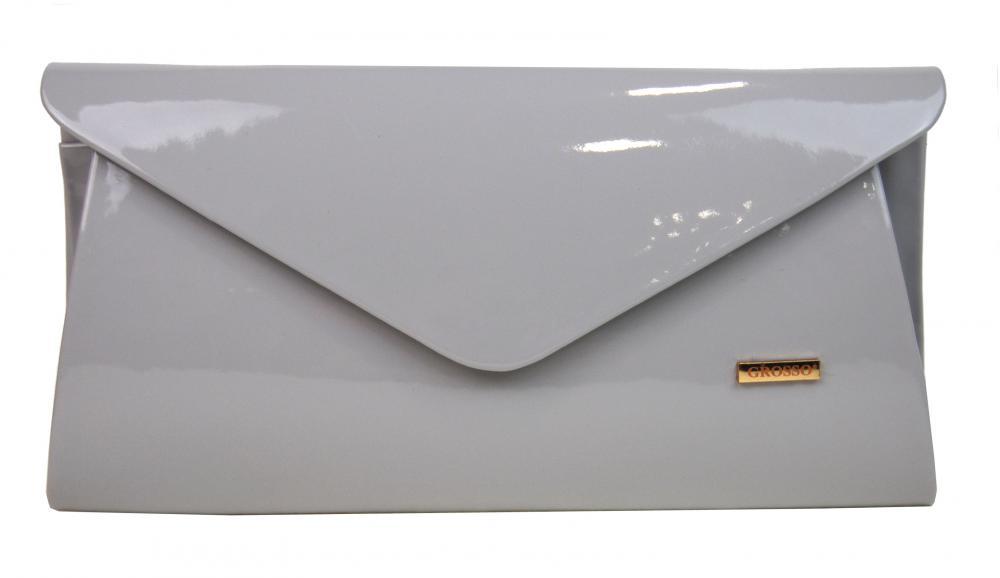 Luxusná svetlo šedá lakovaná listová kabelka SP126 GROSSO