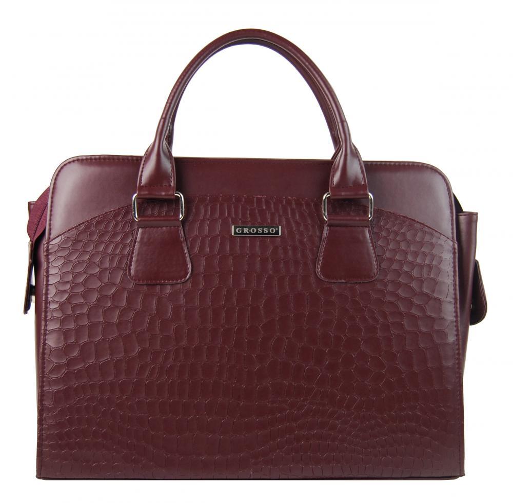 """Dámská luxusní taška na notebook bordó mat kroko ST01 15.6"""" GROSSO"""