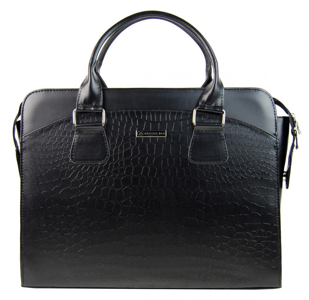 """Dámska luxusná čierna matná taška na notebook kroko design ST01 15.6"""" GROSSO"""
