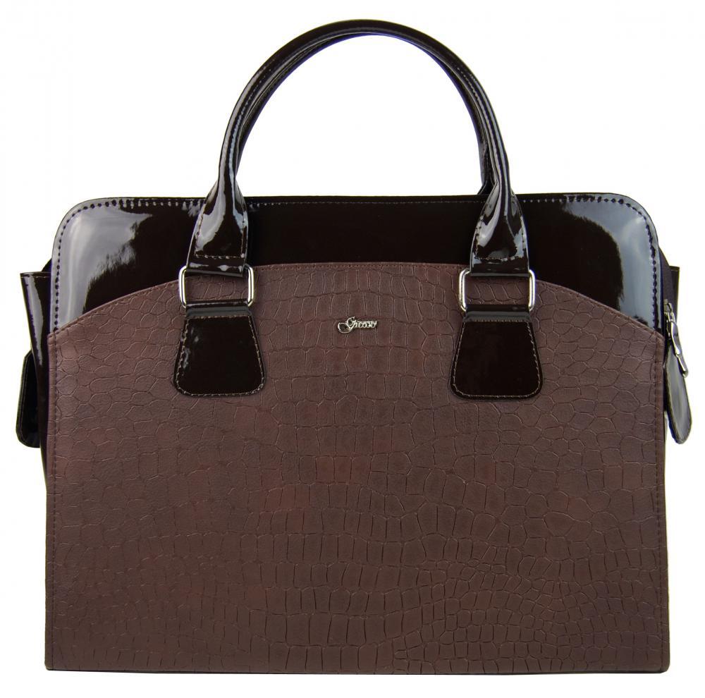 "Dámska luxusná taška na notebook hnedý mat / lak kroko ST01 15.6"" GROSSO"