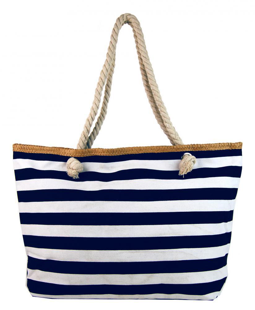 Velká tmavě modro-bílá lehká plážová taška přes rameno H-106-3