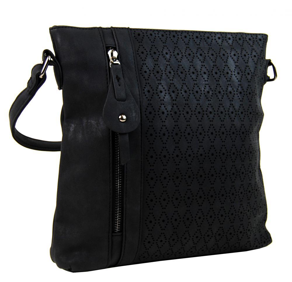 Dámská broušená crossbody kabelka 16023 černá