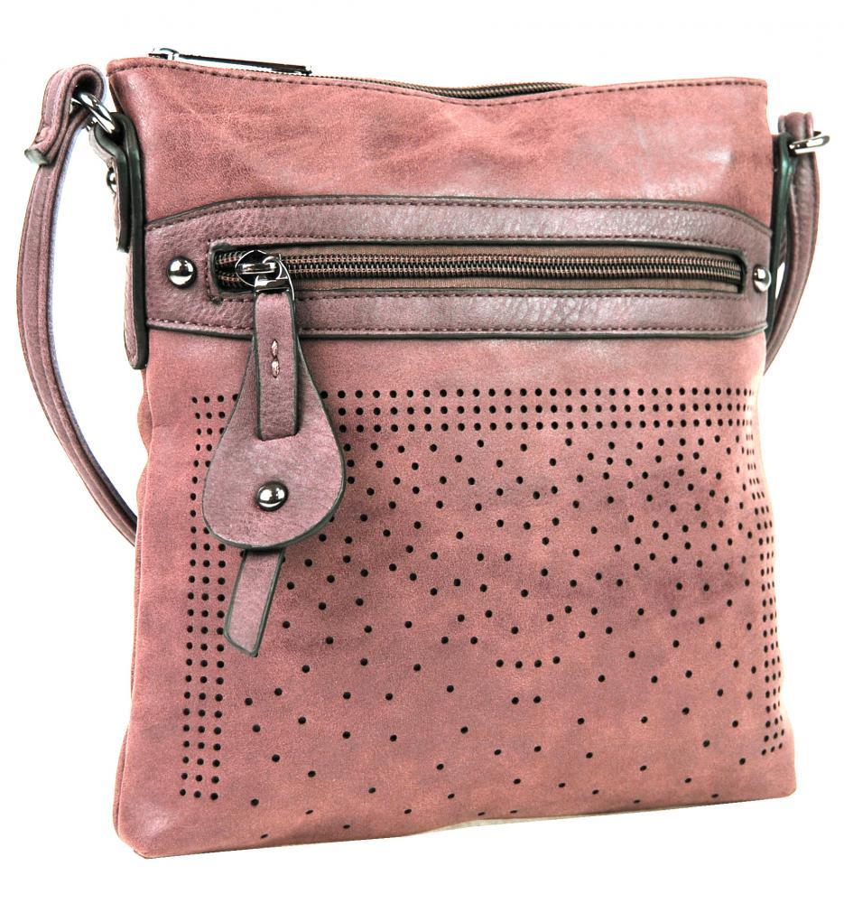 Elegantní malá dámská crossbody kabelka 16088 růžová