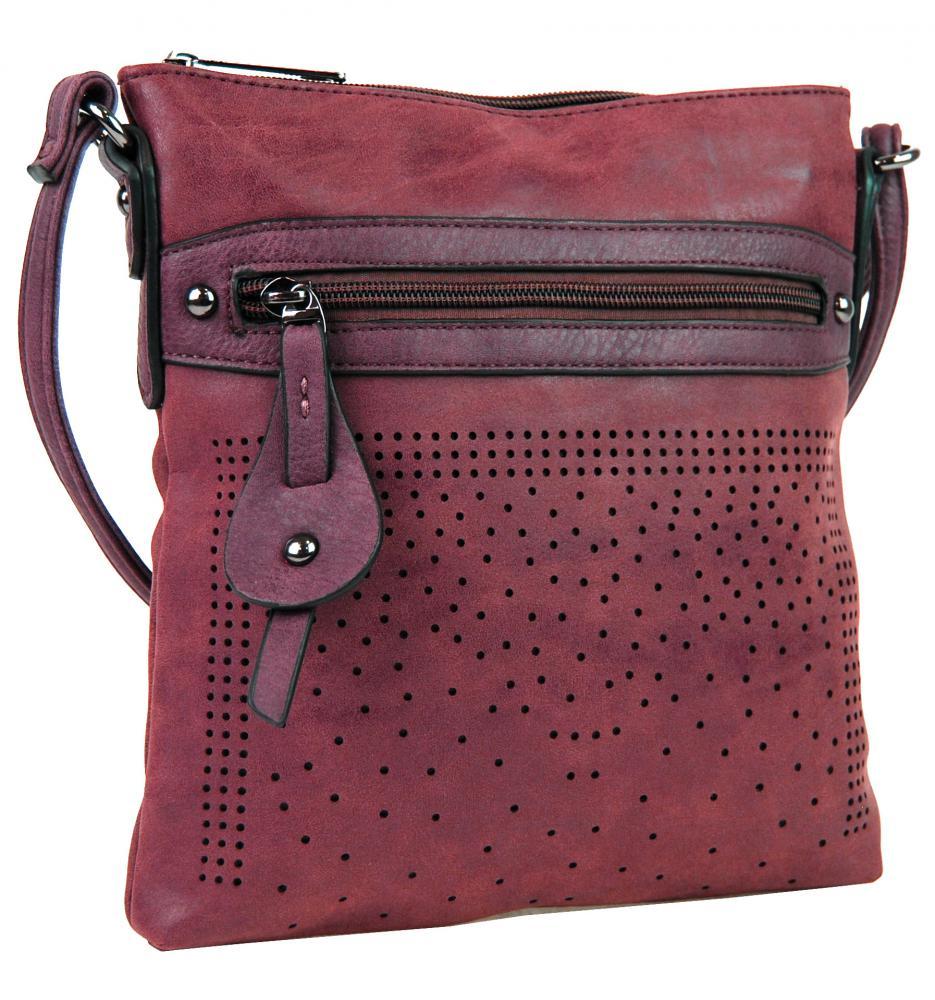 Elegantní malá dámská crossbody kabelka 16088 červená