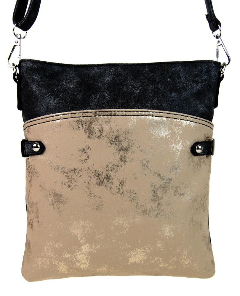 Elegantná malá dámska crossbody kabelka 16216 čierno-zlatá