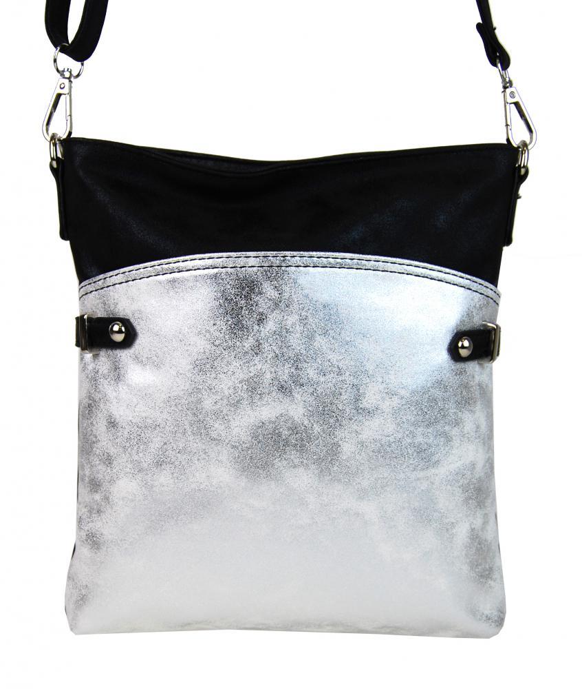 Elegantná malá dámska crossbody kabelka 16216 čierno-strieborná