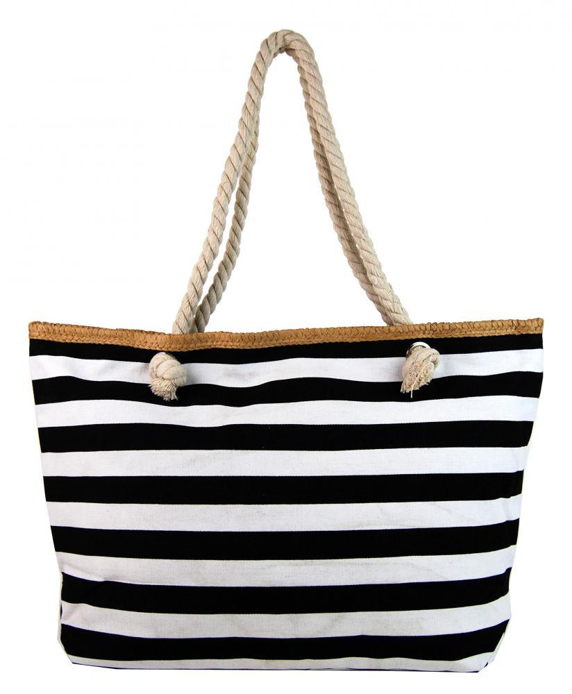 Velká černo-bílá lehká plážová taška přes rameno H106-3