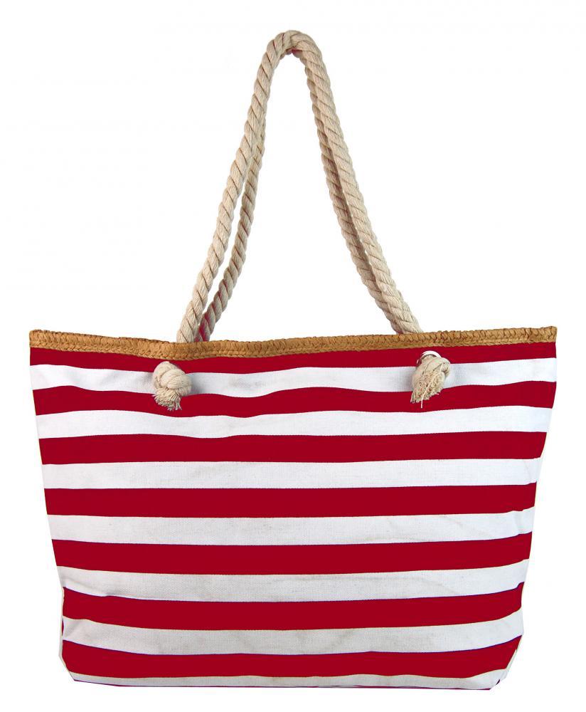 Velká červeno-bílá lehká plážová taška přes rameno H-106-3