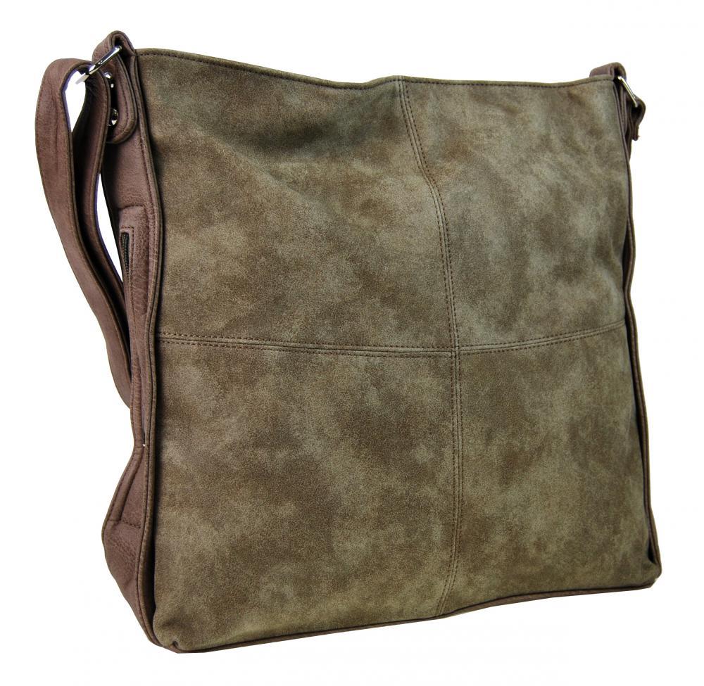 Veľká hnedá dámska crossbody kabelka s khaki nádychom H17151