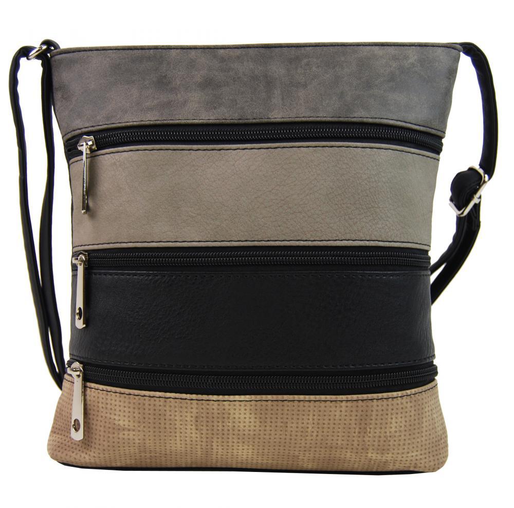 Menšia čierna crossbody kabelka s tmavo šedým, šedým, čiernym a hnedým pruhom H17286