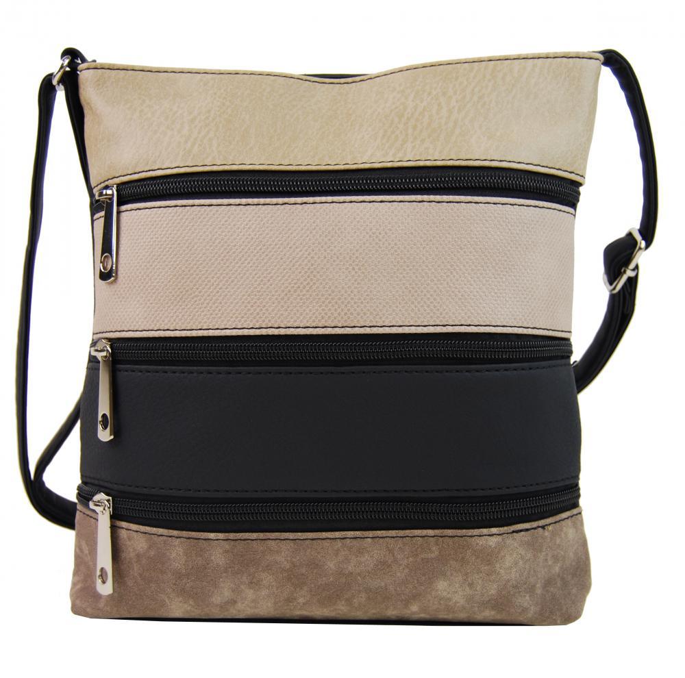 Menšia čierna crossbody kabelka so svetlo hnedým, púdrovým, čiernym a hnedým pruhom H17286