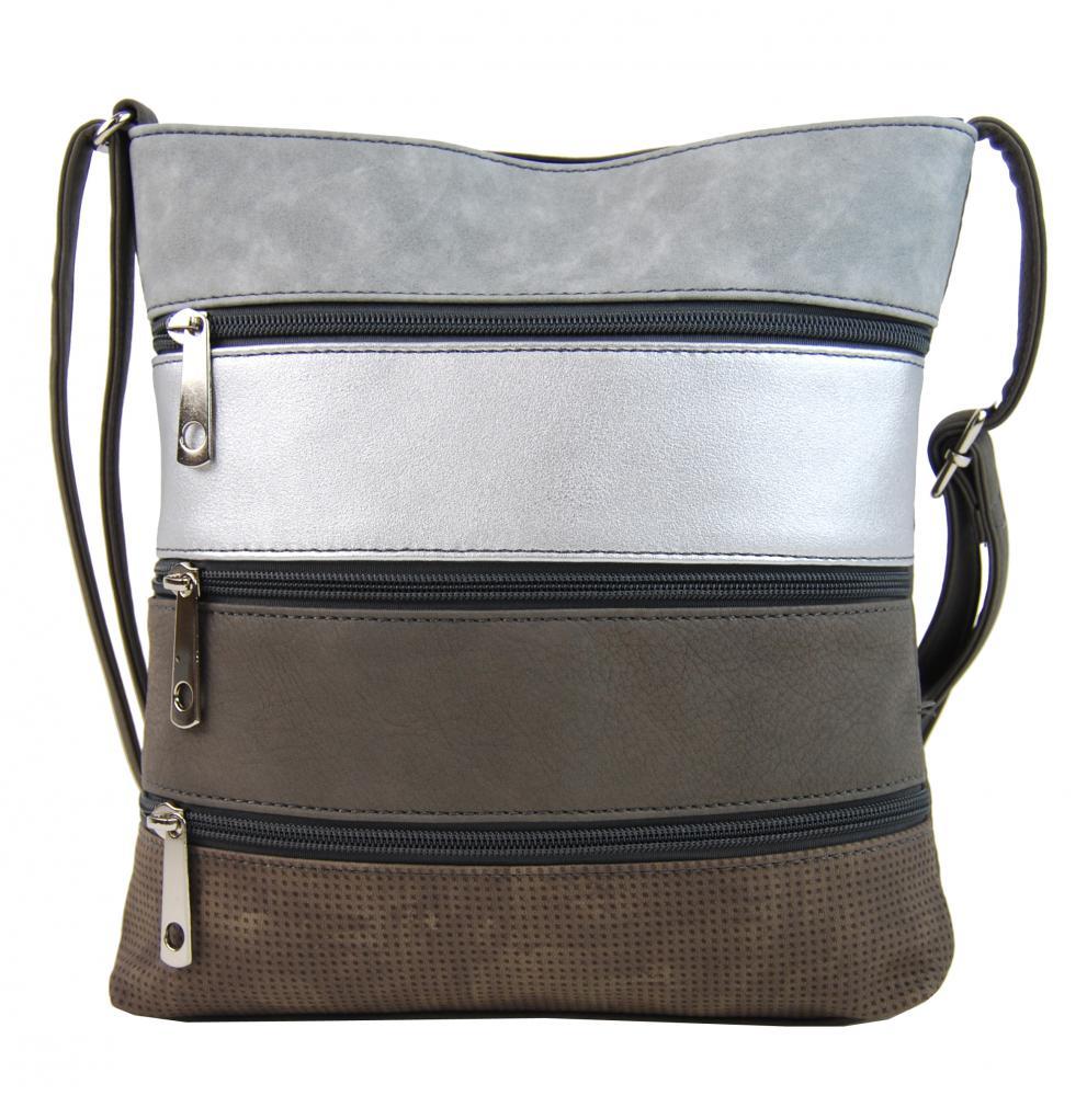 Menšia tmavo šedá hnedá pruhovaná crossbody kabelka H17286