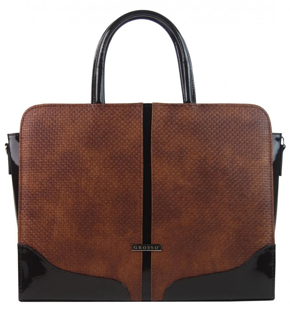 """Elegantní dámská aktovka / taška na notebook 15.6"""" hnědá s proplétaným vzorem ST03 GROSSO"""