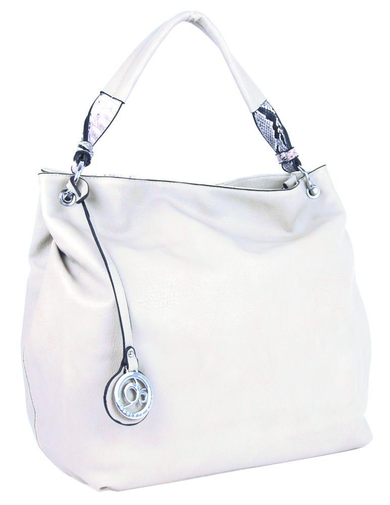 Veká kabelka přes rameno s hadím ramínkem 8003 bílá