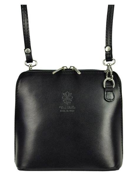 Kožená malá dámská crossbody kabelka černá