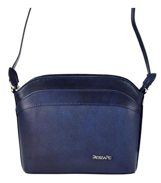 Malá modrá kožená dámská crossbody kabelka