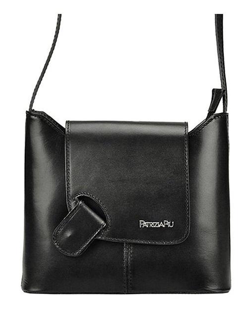 Černá kožená dámská crossbody kabelka