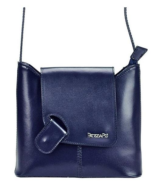 Modrá kožená dámská crossbody kabelka