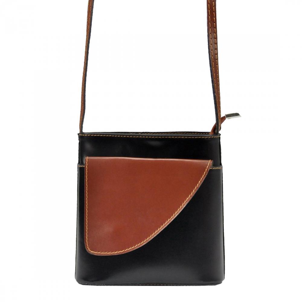 Kožená malá dámská crossbody kabelka černá-hnědá