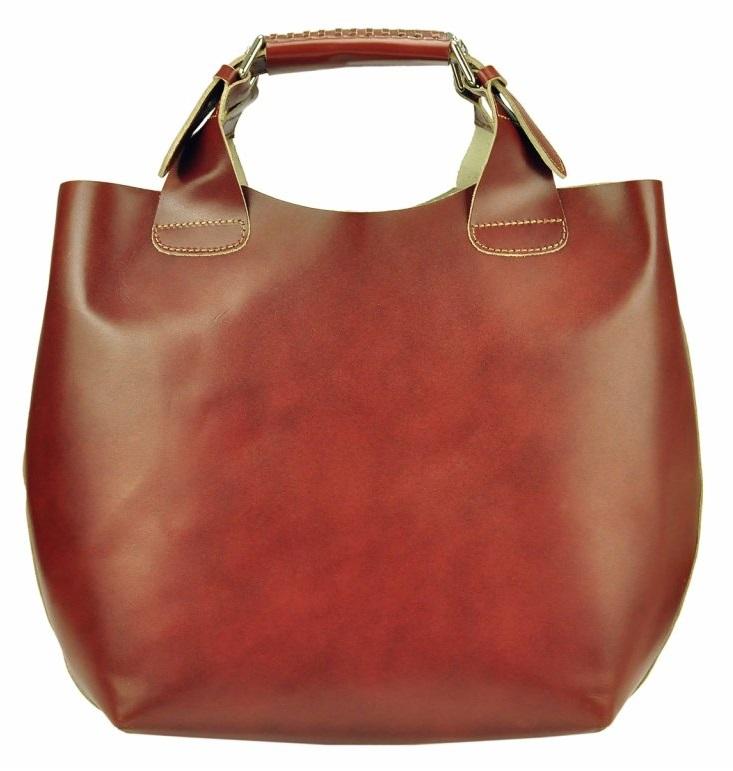 Velká hnědá kožená dámská shopper kabelka