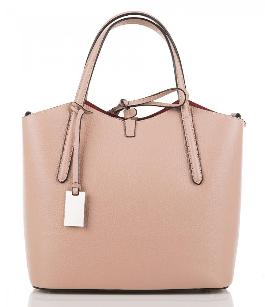 Kožená italská dámská kabelka růžová First Lady  + protiprachový sáček