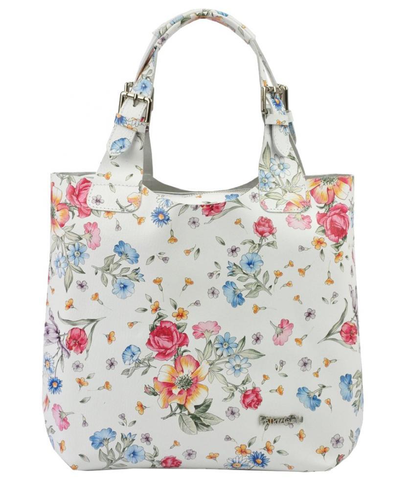 Bílá kožená dámská kabelka Patrizia Piu v motivu květů