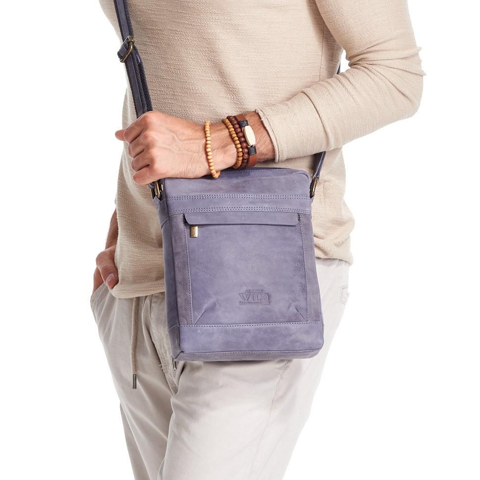 WILD Kožená pánská crossbody taška tmavě modrá 20x25x6 cm