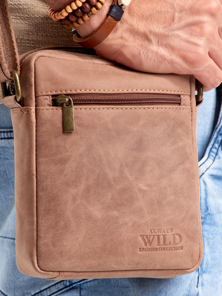 WILD Kožená pánská crossbody taška hnědá 15x19x5 cm