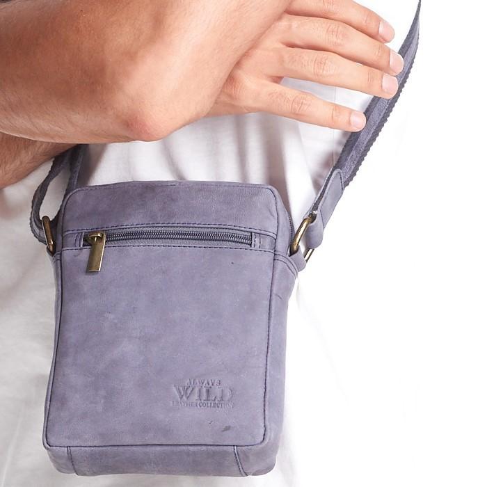 WILD Kožená pánská crossbody taška tmavě modrá 15x19x5 cm