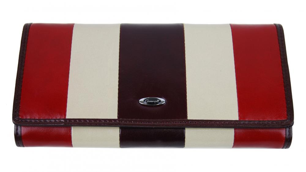 Luxusná bordová kožená magnetická dámska peňaženka v krabičke Cossroll 261-9813B